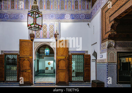 Interior of Dar Si Said Palace in the Medina of Marrakech, Morocco - Stock Image