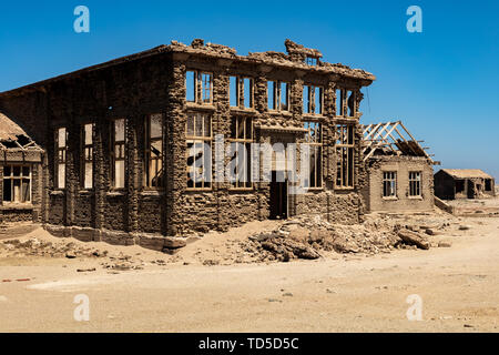 A disused Casino in the Abandoned Mining Town of Elizabeth Bay, on the coast of Luderitz around 25km from Kolmonskop, Namibia, Africa - Stock Image