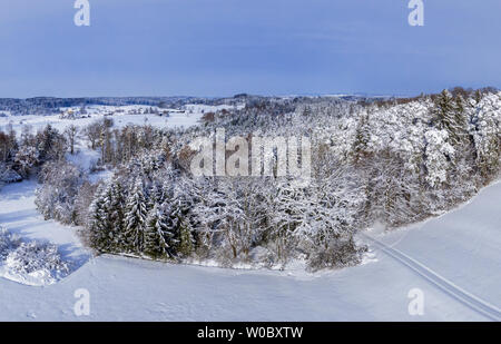 Winter landscape with snowy trees, Bavaria, Germany - Stock Image