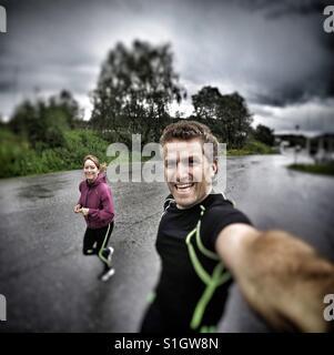 Running selfie - Stock Image