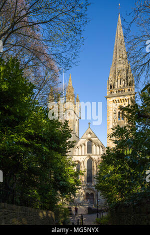 Llandaff Cathedral / Eglwys Gadeiriol Llandaf, Cardiff, a medieval church, bombed in WWII and restored by George Pace. - Stock Image