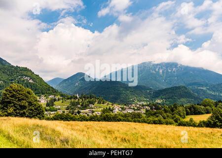 Panoramic view of Pieve Tesino, Trentino, Italy - Stock Image