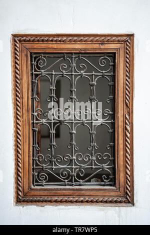 Window grillwork, Ali ben Youssef Medersa (Koranic school), Marrakech, Morocco - Stock Image