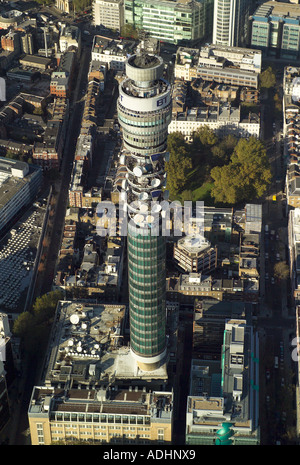 Aerial view of the BT Tower in the Fitzrovia area of London, also known as the Post Office Tower and the London Telecom Tower - Stock Image