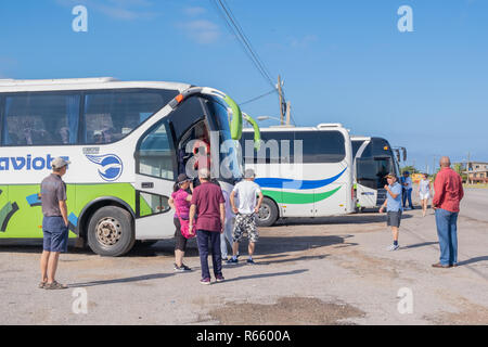 Tourists mill about waiting for their tour buses to resume the trip to Havana Cuba. - Stock Image