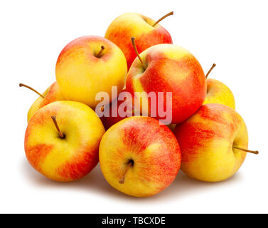 red yellow apple path isolated on white - Stock Image