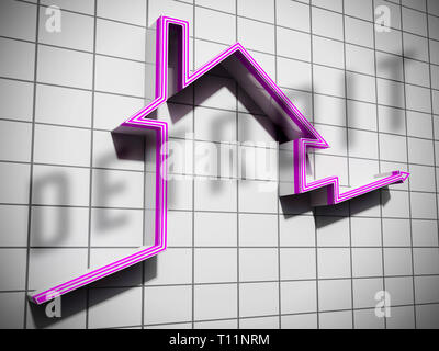 Detroit Property Graph Denotes Real Estate Selling Or Buying In Michigan. Housing Development And Realty Rental - 3d Illustration - Stock Image