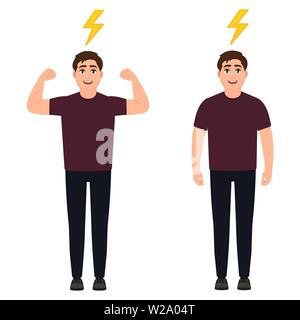 The guy with a full charge of energy, a strong active man, cartoon character vector illustration - Stock Image