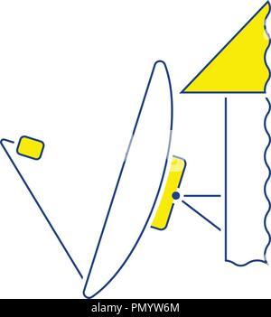 Satellite antenna icon. Thin line design. Vector illustration. - Stock Image