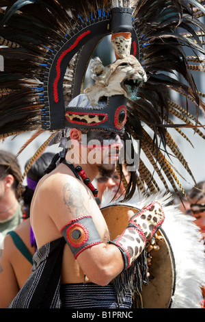 Mexican Man in Aztec Jaguar Costume at a Traditional Aztec Festival at the National Museum of Anthropology in Mexico - Stock Image