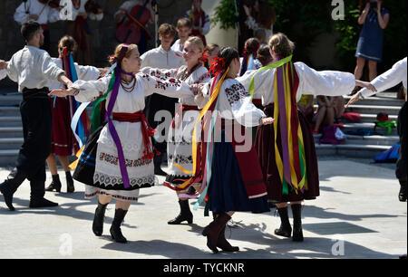 Uhersky Brod, Czech Republic. 26th June, 2019. International folklore festival Straznice 2019, on June 26, 2019, in Uhersky Brod, Czech Republic. On the photo is seen folklore ensemble Roxolania from Ukraine. Credit: Dalibor Gluck/CTK Photo/Alamy Live News - Stock Image