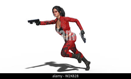 Action girl shooting guns, woman in red leather suit running with hand weapons on white background, 3D rendering - Stock Image