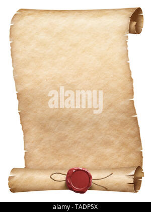 Ancient parchment scroll with wax seal isolated on white - Stock Image