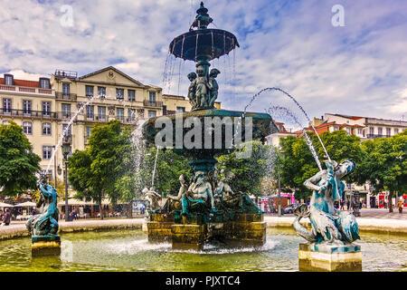 Fountain In Rossio Square Lisbon Portugal - Stock Image