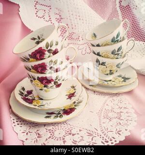 Pretty little teacups - Stock Image