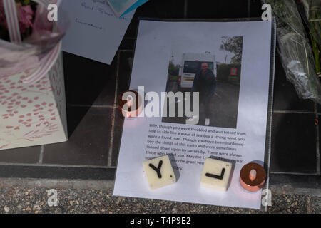 Makeshift shrine to 'Bill' a homeless man who was allegedly murdered in Brentwood High Street, Essex, UK. - Stock Image
