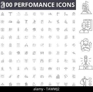 Perfomance line icons, signs, vector set, outline illustration concept  - Stock Image