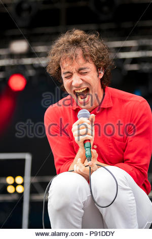 Aix-les-Bains, France, 13 July 2018. Albert Hammond Jr performing live at Musilac festival in Aix-les-Bains (France) - 12 July 2018 Credit: Olivier Parent/Alamy Live News - Stock Image