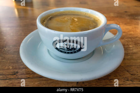 A cup of Bolling Brand Americano coffee roasted in Huddersfield  Yorkshire - Stock Image