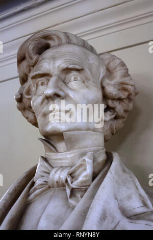 Bust of French composer Hector Berlioz inside Palais Garnier, Paris, France - Stock Image
