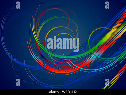 Blue gradient background covered with bright swirling stripes in red, yellow,green and ultramarine glowing shades - Stock Image
