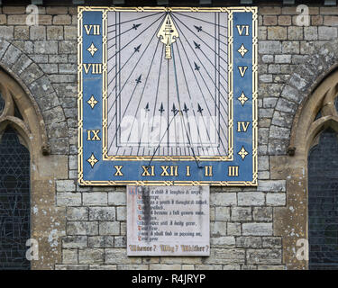 Sundial on church of Saint Nicholas, Radstock, Somerset, England, UK - Stock Image
