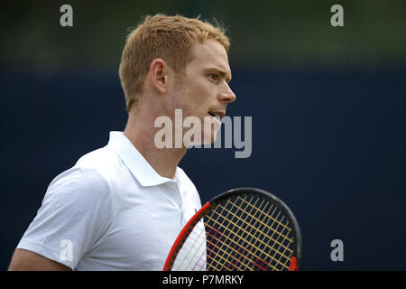 Edward Corrie, professional tennis player from the United Kingdom, during a match. - Stock Image
