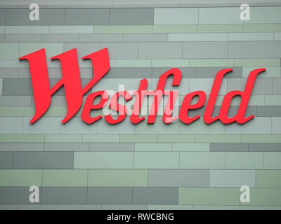 Red Westfield sign - Stock Image