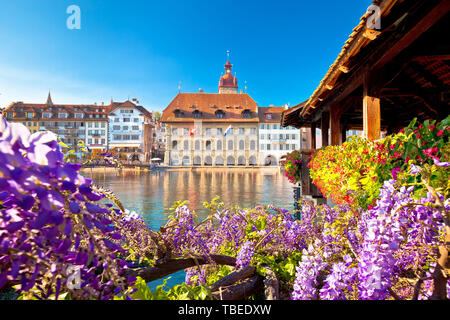 Luzern Chapel Bridge and waterfront landmarks view, town in central Switzerland - Stock Image