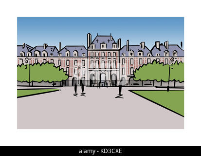 Illustration of Place des Vosges in Paris, France - Stock Image