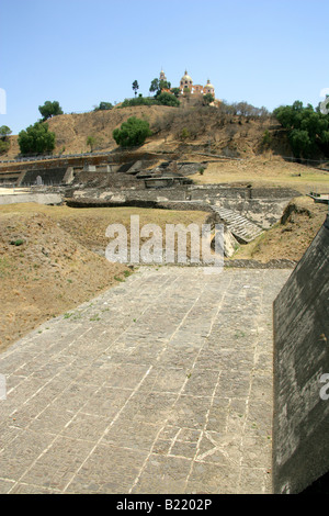 Building 5, Cholula Archaeological Site, Great Pyramid of Cholula and Nuestra Senora Remedios Church in the Background, - Stock Image