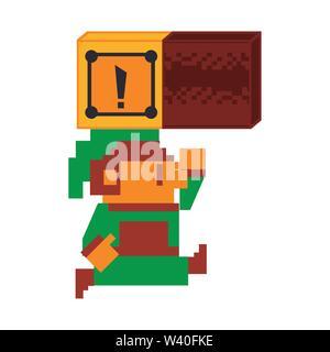 Videogame elf character pixelated isolated - Stock Image
