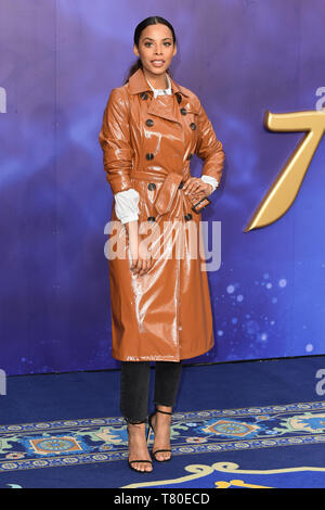 London, UK. 09th May, 2019. LONDON, UK. May 09, 2019: Rochelle Humes at the 'Aladdin' premiere at the Odeon Luxe, Leicester Square, London. Picture: Steve Vas/Featureflash Credit: Paul Smith/Alamy Live News - Stock Image