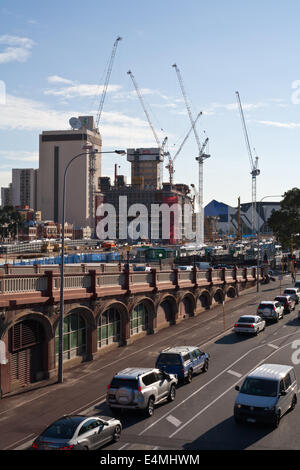 Cranes dominate the skyline with the construction and development of the new City Link project. Perth, Western Australia - Stock Image