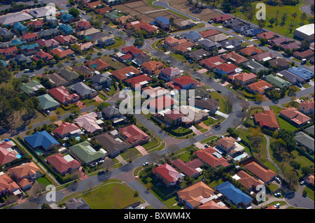 Aerial view of new housing Brisbane Australia - Stock Image