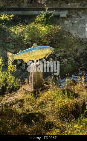 Sept. 17, 2018 - Ketchikan, Alaska: Yeltatzie Salmon mosaic sculpture by artist Terry Pyles at the foot of the fish ladder in Ketchikan Creek. - Stock Image