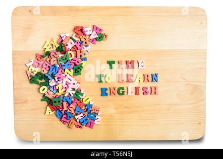 English words composed from colorful abc alphabet block wooden letters. Education concept - Stock Image