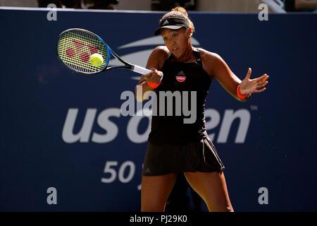 Flushing Meadows, New York - September 3, 2018: US Open Tennis:  Naomi Osaka of Japan during her fourth round match against Aryna Sabalenka of Belarus at the US Open in Flushing Meadows, New York. Credit: Adam Stoltman/Alamy Live News - Stock Image