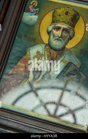 An icon on display in the entrance of a small orthodox church in Istanbul. - Stock Image