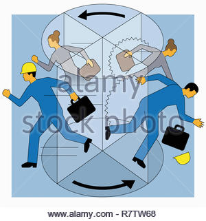 Workers rushing in and falling out of revolving door - Stock Image