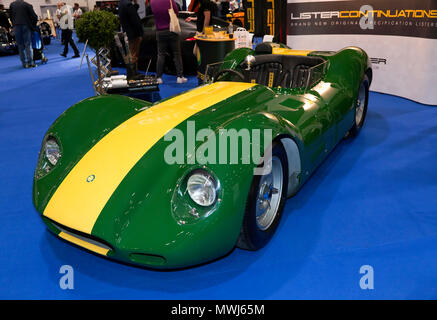 Three-quarter front view of a Lister Jaguar Continuation  model, on display at the 2018 London Motor Show - Stock Image