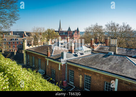 Norwich city skyline viewed from Castle hill. Norfolk, East Anglia, England. - Stock Image