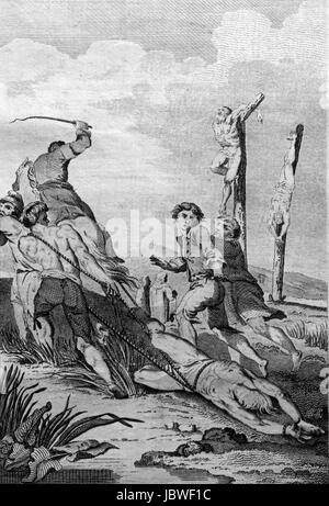 Protestants dragged through bogs and hung on tenter hooks or fastened to poles until they perished. Bloody Irish - Stock Image