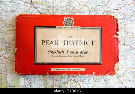 The Peak District Ordnance Survey One-InchTourist Map 1960 cloth edition costing nine shillings net.  Well used. - Stock Image