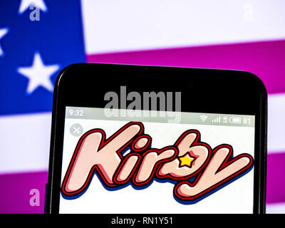 Ukraine. 16th Feb, 2019. Kirby is a fictional character and the titular protagonist of the Kirby series of video games owned by Nintendo and HAL Laboratory logo seen displayed on a smart phone. Credit: Igor Golovniov/SOPA Images/ZUMA Wire/Alamy Live News - Stock Image