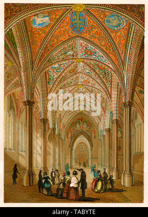 Interior of the medieval Temple Church in London, view in the 1800s. Color lithograph - Stock Image