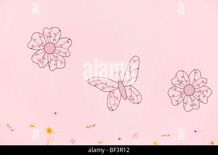 Flowers and a butterfly drawn on a wall - Stock Image