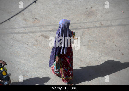 An Indian lady carries groceries home after shopping. Jaisalmer, Rajasthan, India. - Stock Image