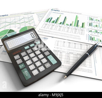 3d Illustration of Financial documents, graphs and pie charts on white background.Pen and Calculator. Green Theme. - Stock Image
