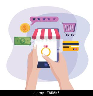 hands with smartphone technology to online buy and sale vector illustration - Stock Image